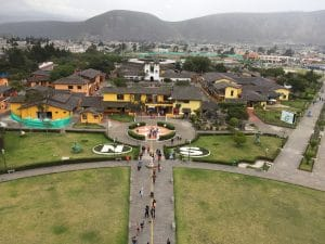 Mitad del Mundo monument in Ecuador, showing equatorial demarcation