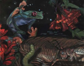 Painting of a frog and a cricket amidst leaves and flowers at night