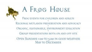 Business card for A Frog House with description of its mission
