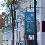 Save the Frogs Day banner on Main Street in Pittsford