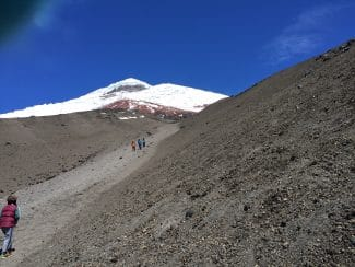 A snow-peaked mountain in Ecuador's Cotopaxi National Park