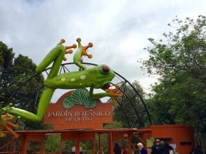 A tree frog sculpture welcomes visitors to the Jardin Botanico in Quito.