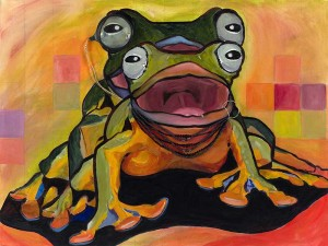Painting of two frogs in the act of amplexus (laying and fertilizing eggs)