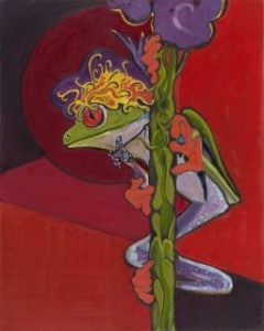 Painting of a red-eyed tree frog clinging to a flower green stem, against a red background