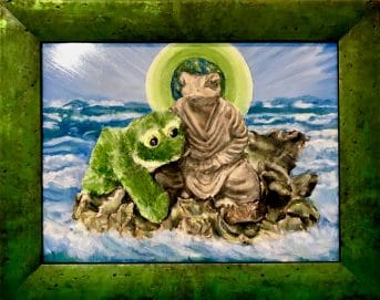 Green frame surrounding fanciful painting of green frog clinging to frog statue in the sea