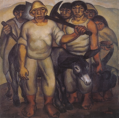 "Image of artowrk titled ""The Workers< by Ecuadorain artist Oswaldo Guyasamin"